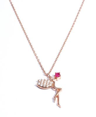925 Ayar Rose Gümüş Peri Kolye, Pembe