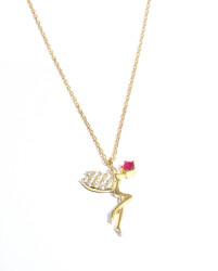 925 Ayar Rose Gümüş Peri Kolye, Pembe - Thumbnail