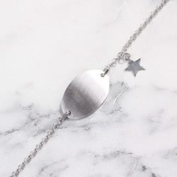 925 Ayar Gümüş Plaka & Yıldız Bileklik - Thumbnail