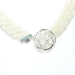 925 Ayar Gümüş Saç Örgüsü Çiçekli Kolye - Thumbnail