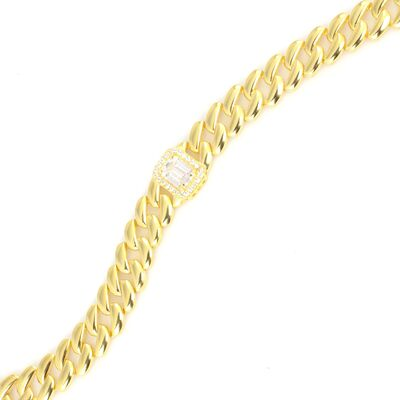 925 Ayar Gümüş Sade Baget Taşlı Gurmet Zincir