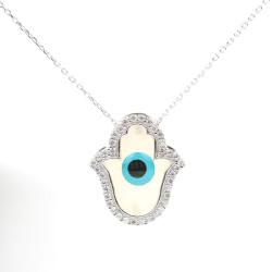 925 Ayar Gümüş Sedef Taşlı Fatma Ana Eli Kolyesi, Nazar Boncuklu - Thumbnail