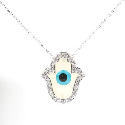 925 Ayar Gümüş Sedef Taşlı Fatma Ana Eli Kolyesi, Nazar Boncuklu