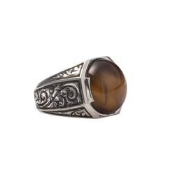 925 Ayar Gümüş Sekizgen Kaplangözü Taşlı Kalemkar Model Erkek Yüzük - Thumbnail