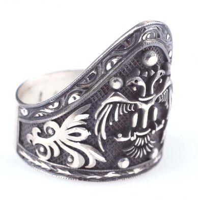925 Ayar Gümüş Selçuklu Kartalı El Kalemli Okçu Yüzüğü