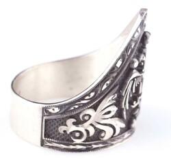 925 Ayar Gümüş Selçuklu Kartalı El Kalemli Okçu Yüzüğü - Thumbnail