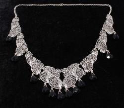 Oniks Taşlı 925 Ayar Gümüş Telkari Kolye - Thumbnail