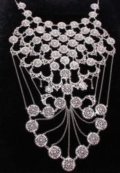 925 Ayar Gümüş Ay ve Yuvarlak Motifli Telkari Kolye - Thumbnail