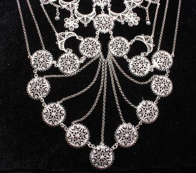 925 Ayar Gümüş Ay ve Yuvarlak Motifli Telkari Kolye