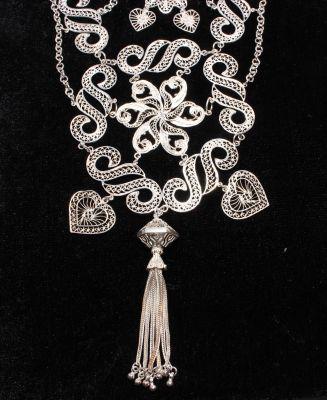 925 Ayar Gümüş S Motifli Püskül Telkari Kolye