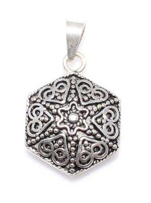 925 Ayar Gümüş Altıgen Telkari Kolye Ucu