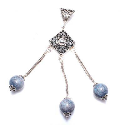 925 Ayar Gümüş Saçaklı Mavi Taşlı Telkari Kolye Ucu