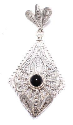925 Ayar Gümüş Oniks Taşlı Dörtgen Telkari Kolye Ucu