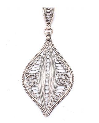 925 Ayar Gümüş Mekik Desenli Telkari Kolye Ucu