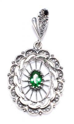 925 Ayar Gümüş Yeşil Taş Telkari Kolye Ucu