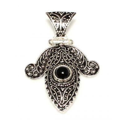 925 Ayar Gümüş Oniks Döküm Telkari Kolye Ucu