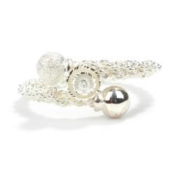 925 Ayar Gümüş Top Kaşlı 8 Tel Burma Bilezik - Thumbnail