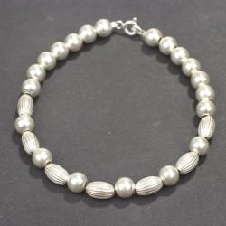 925 Ayar Gümüş Top ve Badem Bileklik - Thumbnail