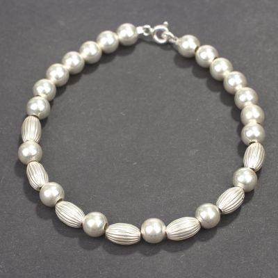 925 Ayar Gümüş Top ve Badem Bileklik