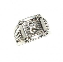 925 Ayar Gümüş Üç Hilal Yüzük - Thumbnail