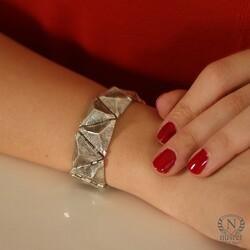 925 Ayar Gümüş Üçgen Bilezik - Thumbnail