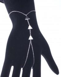925 Ayar Gümüş Üçlü Üçgen Şahmeran Bileklik - Thumbnail