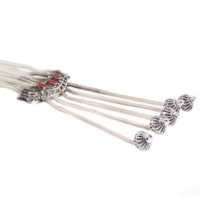 925 Ayar Gümüş Uzun Geometrik Şekilli Uzun Kolye