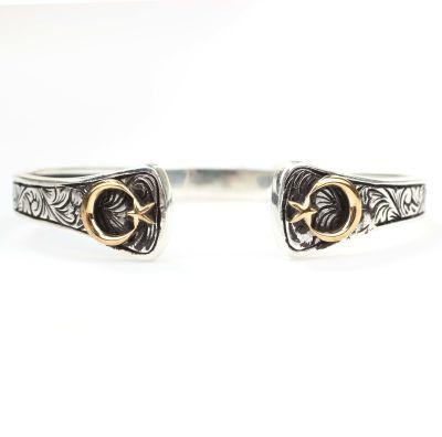 925 Ayar Gümüş ve Bronz Ay Yıldız Motifli Erkek Bilekliği