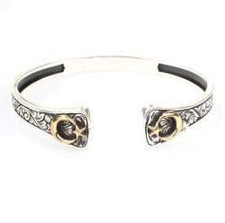 925 Ayar Gümüş ve Bronz Ay Yıldız Motifli Erkek Bilekliği - Thumbnail