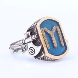 925 Ayar Gümüş ve Bronz Karışımı Balta Şeklinde Desenli Kayı Boyu Motifli Mavi Mineli Erkek Yüzük - Thumbnail