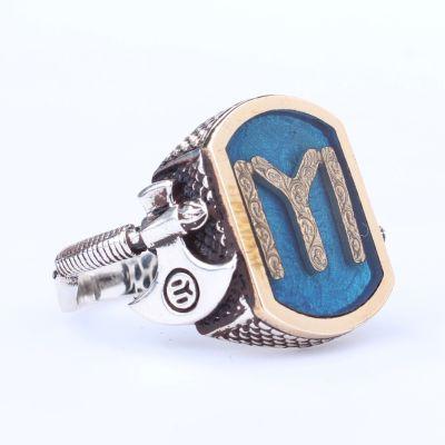 925 Ayar Gümüş ve Bronz Karışımı Balta Şeklinde Desenli Kayı Boyu Motifli Mavi Mineli Erkek Yüzük