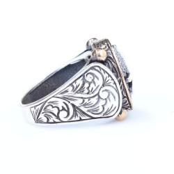 925 Ayar Gümüş ve Bronz Karışımı Dövmeli Çepni Boyu Sembolü Erkek Yüzük - Thumbnail