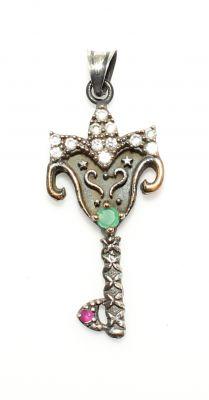 925 Ayar Gümüş ve Bronz Karışımı Taçlı Anahtar Modeli Kolye Ucu
