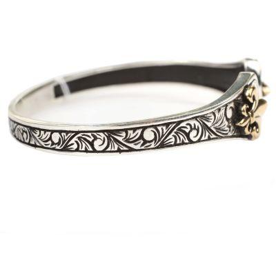 925 Ayar Gümüş ve Bronz Osmanlı Motifli Erkek Bilekliği