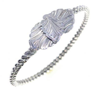 925 Ayar Gümüş Yaprak Kaşlı Burma Bilezik