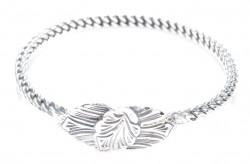 925 Ayar Gümüş Yaprak Kaşlı Burma Bilezik - Thumbnail