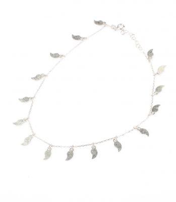 925 Ayar Gümüş Yaprak Modeli Halhal Bileklik, Beyaz