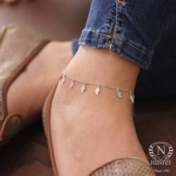 925 Ayar Gümüş Yaprak Modeli Halhal Bileklik, Beyaz - Thumbnail