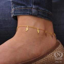 925 Ayar Gümüş Yaprak Modeli Halhal Bileklik, Sarı - Thumbnail