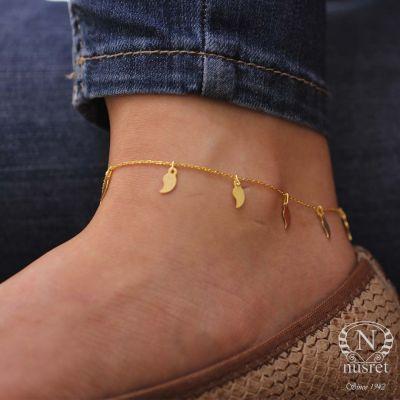 925 Ayar Gümüş Yaprak Modeli Halhal Bileklik, Sarı