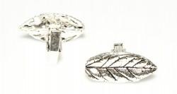 925 Ayar Gümüş Yaprak Modeli Kol Düğmesi, Büyük - Thumbnail