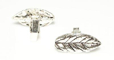 925 Ayar Gümüş Yaprak Modeli Kol Düğmesi, Büyük