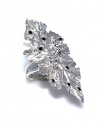 925 Ayar Gümüş Yaprak Yüzük, Siyah Taşlı - Thumbnail