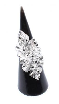 925 Ayar Gümüş Yaprak Yüzük, Siyah Taşlı