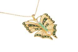 925 Ayar Gümüş Yeşil Kelebek Modeli Telkari Kolye - Thumbnail