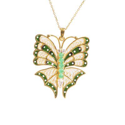 925 Ayar Gümüş Yeşil Kelebek Modeli Telkari Kolye