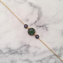 925 Ayar Gümüş Yeşil Taşlı & Mineli Nazar Boncuklu Bileklik - Thumbnail