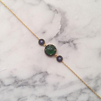 925 Ayar Gümüş Yeşil Taşlı & Mineli Nazar Boncuklu Bileklik