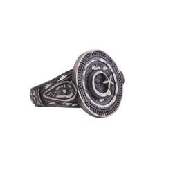 925 Ayar Gümüş Yuvarlak Ay Yıldız Kalemkar Model Erkek Yüzük - Thumbnail