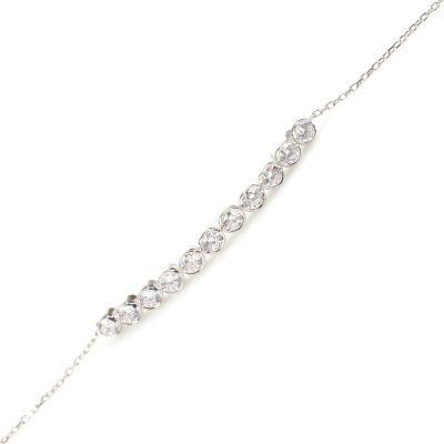 925 Ayar Gümüş Zirkon Taşlı 11 Sıra Suyolu Bileklik